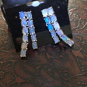 Sterling silver 950 fire opal waterfall earrings